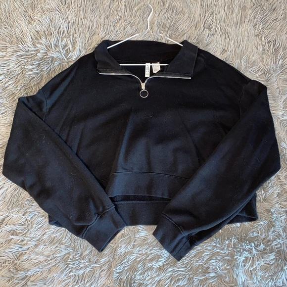 Cropped Half Zip Sweatshirt